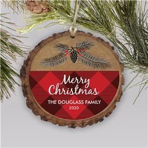 Personalized Farmhouse Plaid Wood Ornament