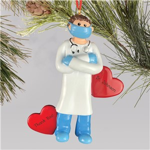 Personalized Doctor Wearing Face Mask Ornament