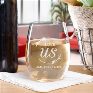 Engraved I Love Us with Branches Stemless Wine Glass L17318265