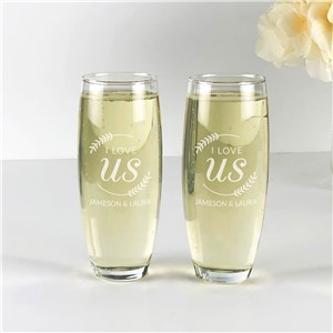 Engraved I Love Us with Branches Stemless Flute