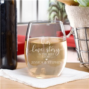 Engraved Our Love Story Stemless Wine Glass