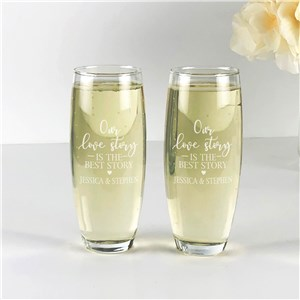 Engraved Our Love Story Stemless Flute