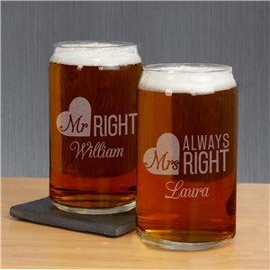 Engraved Mr. & Mrs. Right Beer Can Glass Set L17321118-S2
