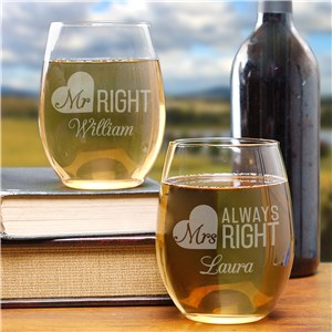 Engraved Mr. & Mrs. Right Stemless Wine Glass Set