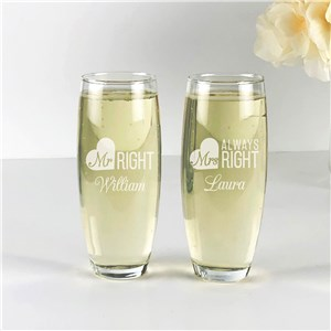 Engraved Mr. & Mrs. Right Stemless Flute Set