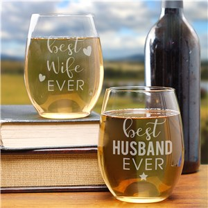 Engraved Best Ever Stemless Wine Glass