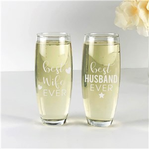 Engraved Best Wife or Husband Ever Stemless Flute