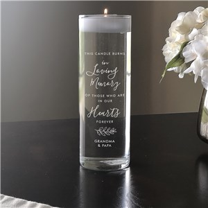 Engraved Burns in Loving Memory Floating Candle Vase