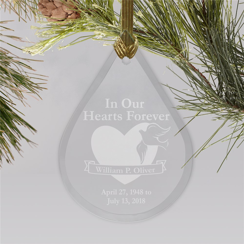 In Our Hearts Forever Tear Drop Glass Ornament | Personalized Memorial Ornaments