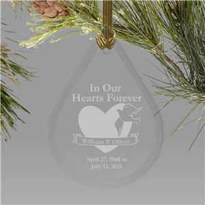 In Our Hearts Forever Tear Drop Glass Memorial Ornament | Personalized Memorial Ornaments