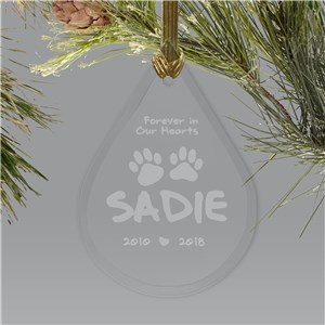 Engraved Pet Memorial Glass Tear Drop Ornament | Pet Memorial Ornament