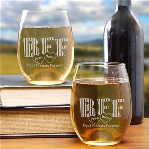 Engraved BFF Wine Glass Set L274495S2