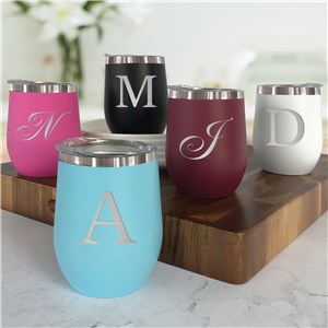 Engraved Stemless Wine Tumbler | Personalized Wine Tumbler with Initial