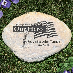 Engraved Our Hero Garden Stone | Memorial Garden Stones