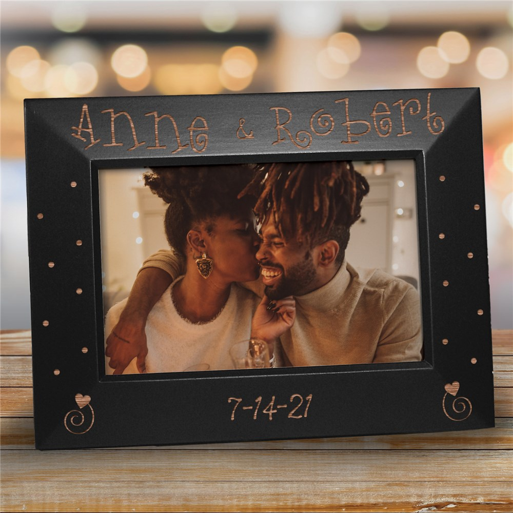 Engraved Couples Black Frame | Personalized Picture Frames