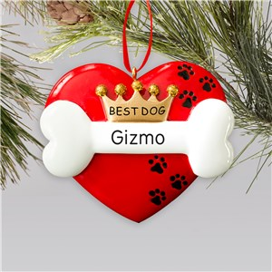 Engraved Best Dog Ornament | Personalized Dog Ornaments