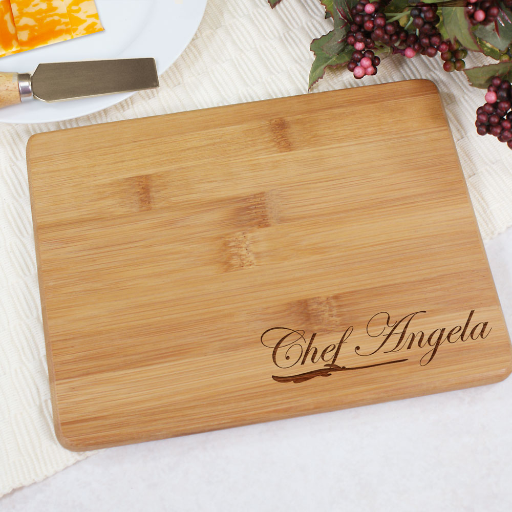 Engraved Chef Bamboo Cheese Board | Personalized Cutting Board