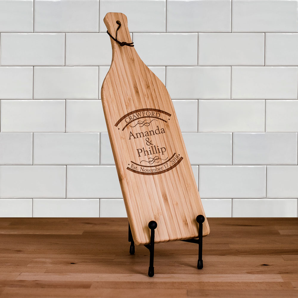 Engraved Established In Wine Bottle Cutting Board | Personalized Couple Gifts