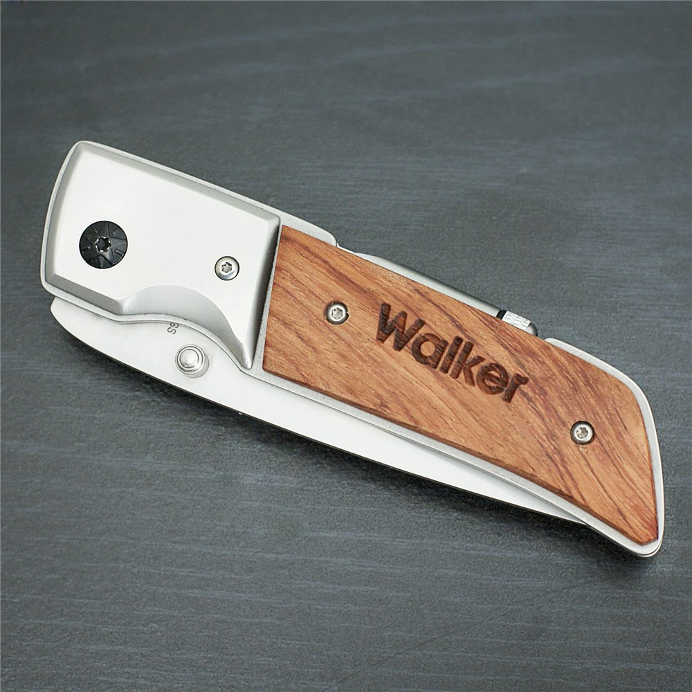 Engraved Rosewood DecoGrip Hunting Knife | Engraved Knives