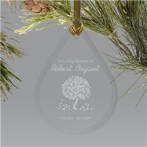 Personalized In Loving Memory Ornament | Tear Drop Glass | Memorial Ornaments