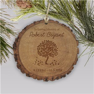 Personalized in Loving Memory Wood Round Ornament | Memorial Ornaments