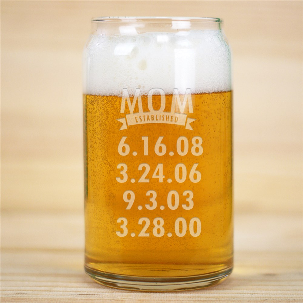 Personalized Mom Established Beer Can Glass | Personalized Mom Gifts