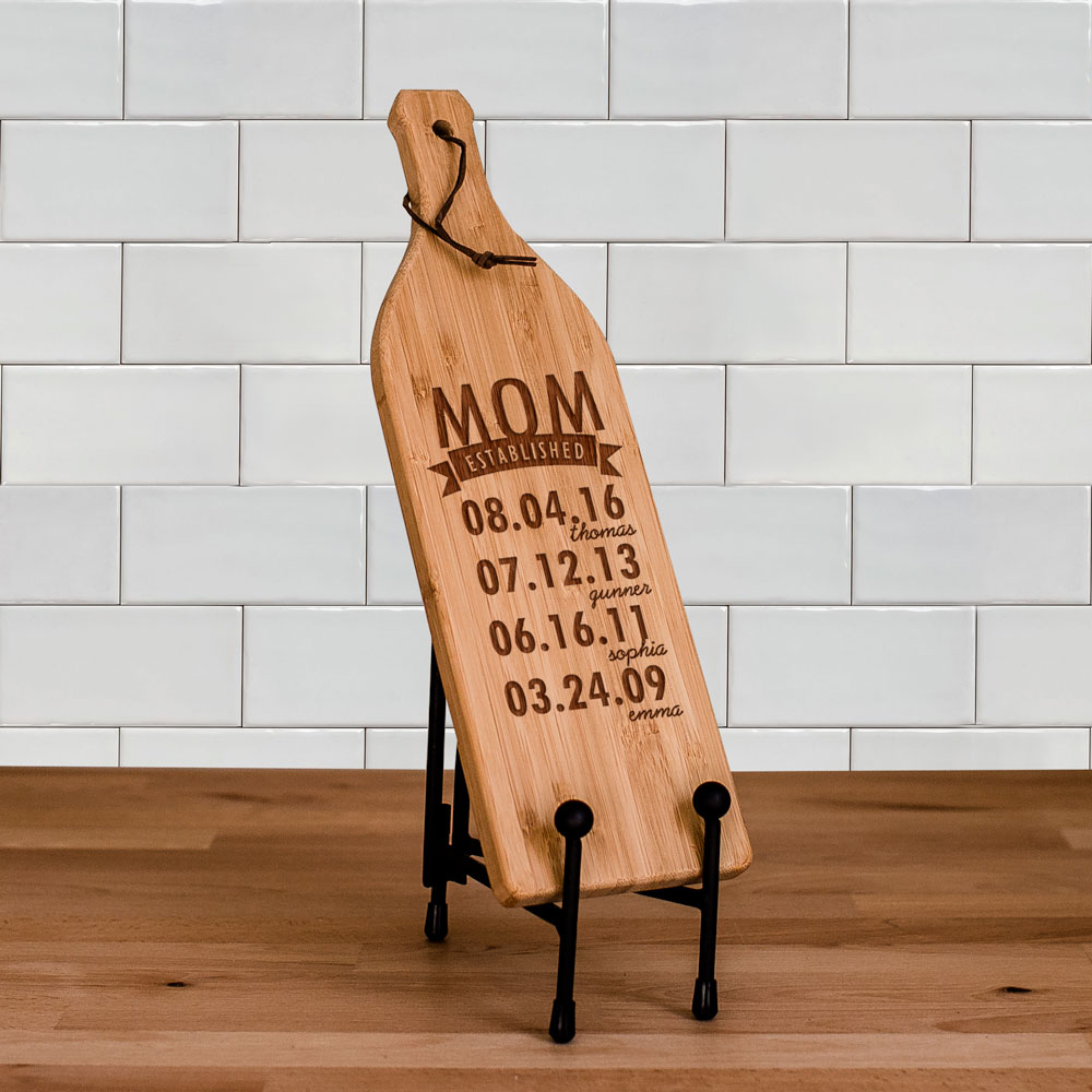 Engraved Mom Established Wine Bottle Cutting Board | Personalized Grandma Gifts