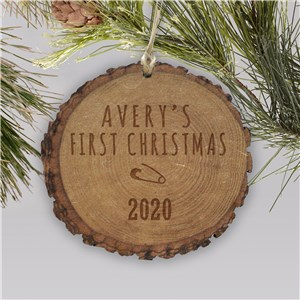 Baby's First Christmas Wood Personalized Ornament | Baby's First Christmas Ornaments
