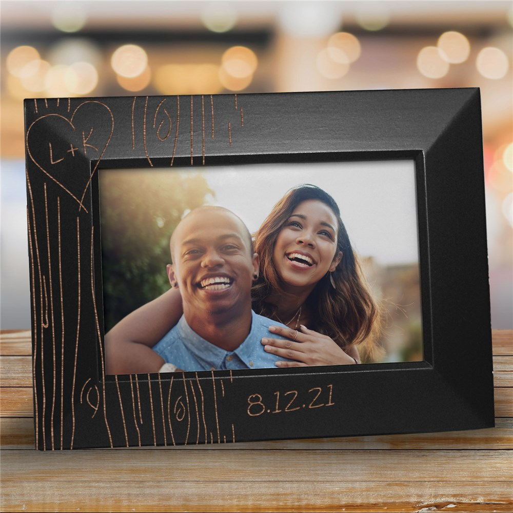 Engraved Couples Tree Carving Black Frame | Personalized Valentines Frames
