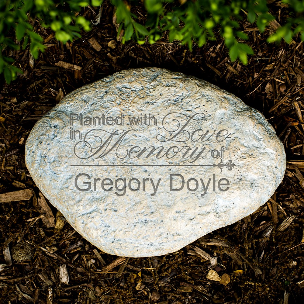 Engraved Planted With Love Memorial Garden Stone | Personalized Memorial Gifts