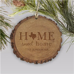 Personalized Home Sweet Home Rustic Wood Ornament