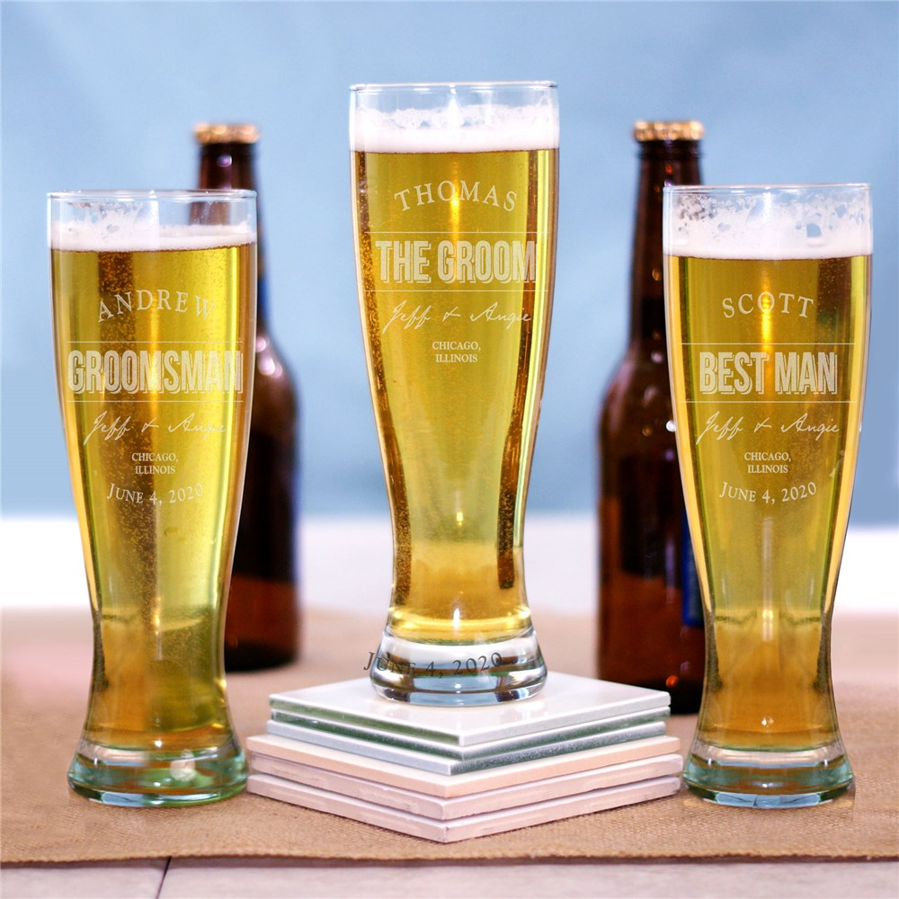 Engraved Groomsmen Pilsner Glass | Engraved Glasses