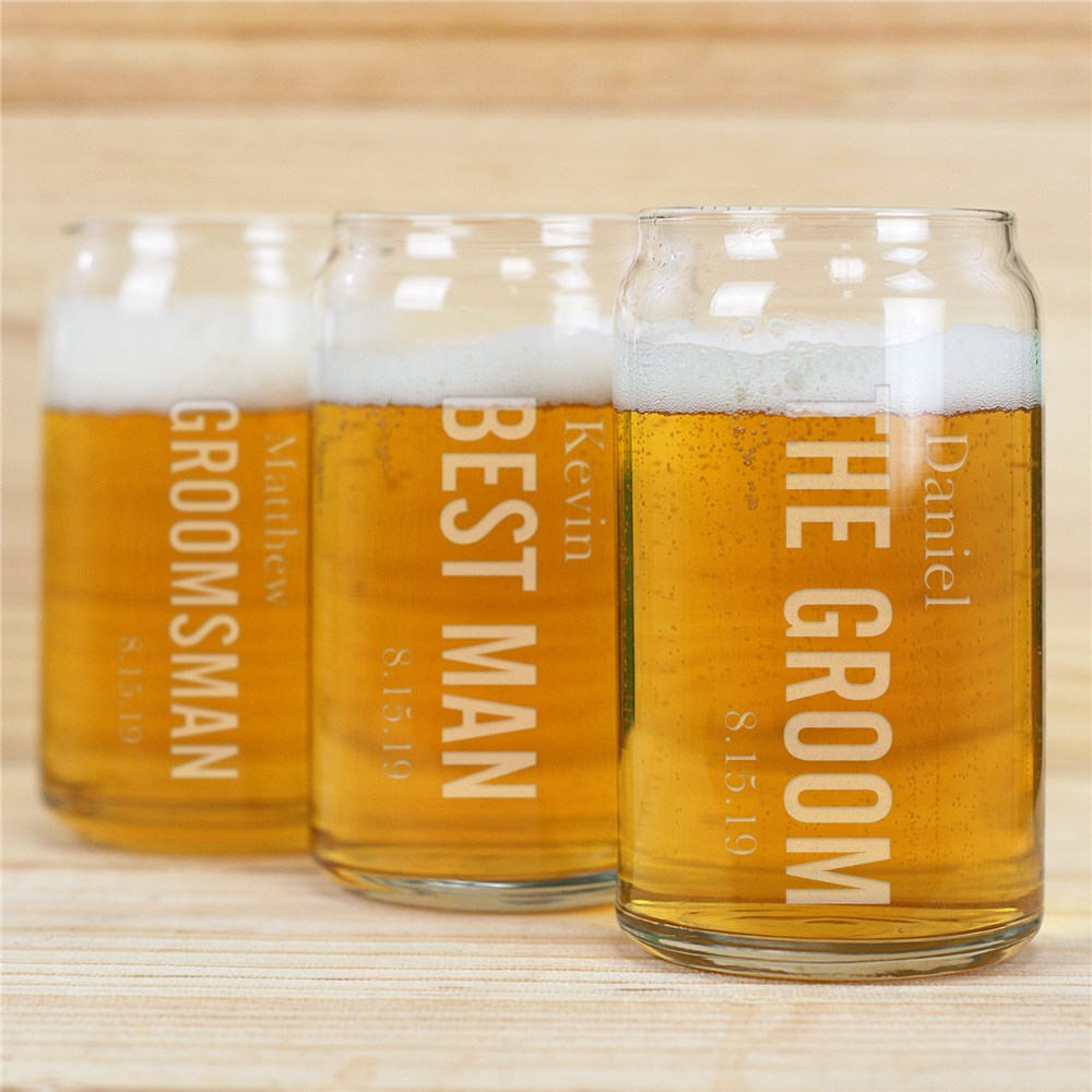 Engraved Wedding Party Beer Can Glass | Personalized Wedding Favors