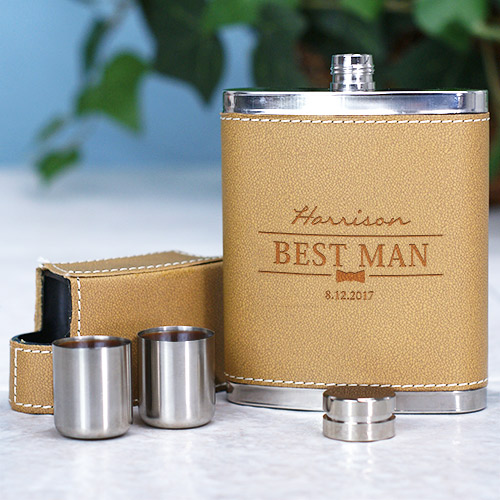Engraved Groomsmen Leather Flask L764575