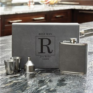 Personalized Grey Leather Flask Set  L7646271