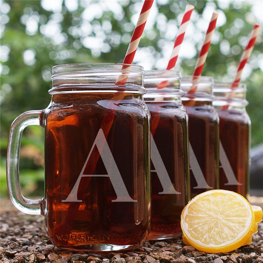 Engraved Initial Mason Jars - Set of 4 | Personalized Father's Day Gifts