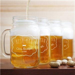Engraved Groomsman Mason Jar | Groomsmen Gifts Engraved Glasses