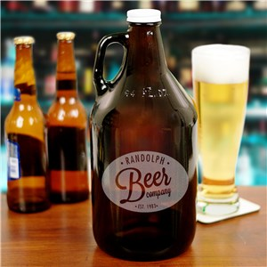 Engraved Beer Growler | Amber Beer Bottle With Custom Name and Year