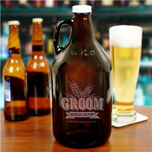 Engraved Groomsmen Wheat Growler | Personalized Groomsmen Gifts