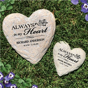 Engraved Memorial Heart Garden Stone | Personalized Stones