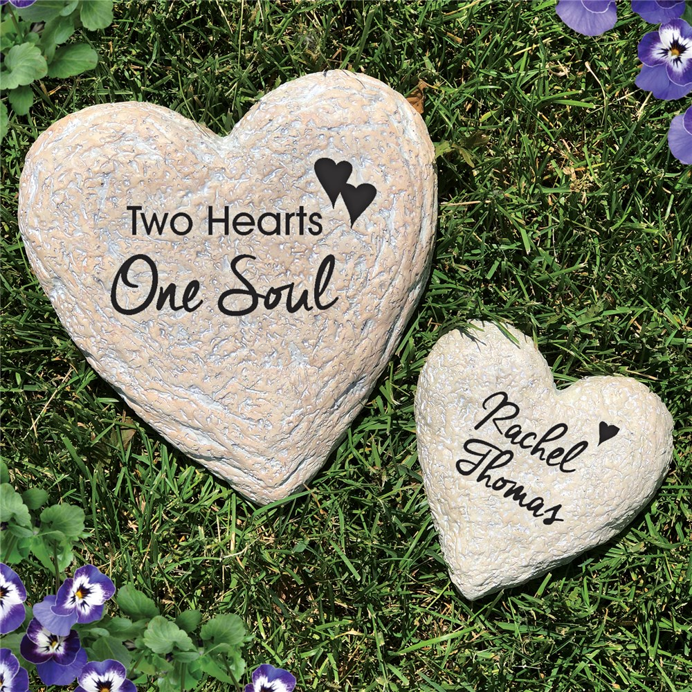 Engraved Couples Heart Garden Stone Set | Personalized Stones