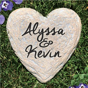 Engraved Couples Heart Garden Stone | Personalized Stones