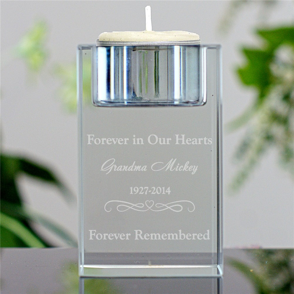 Engraved Memorial Candle Holder | Forever Iin Our Hearts Candle Holder