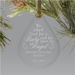 Engraved Tear Drop Memorial Ornament | Baby Angel Ornaments