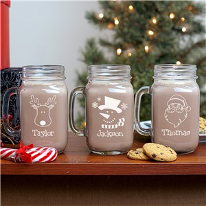Personalized Christmas Mason Jar | Personalized Christmas Mugs