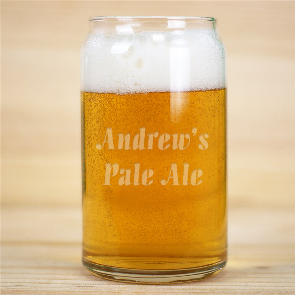 Engraved Any Message Beer Can Glass | Beer Glass For Him
