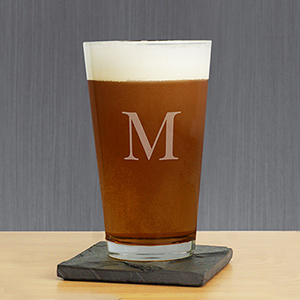 Engraved Initial Beer Glass