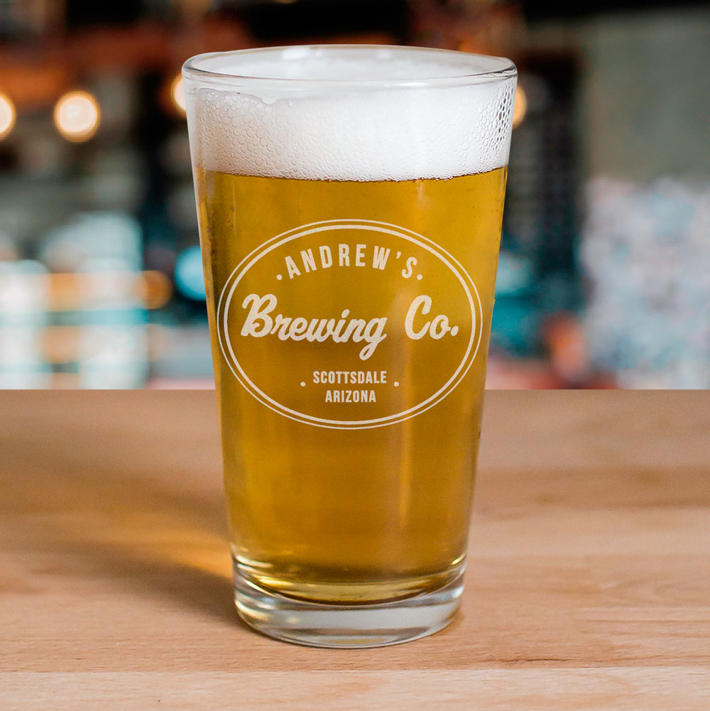Engraved Beer Company Beer Glass | Personalized Barware