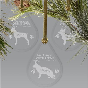 Engraved Dog Memorial Tear Drop Ornament | Pet Memorial Ornament