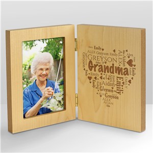 Engraved Family WordArt Wood Frame | Personalized Gifts For Grandma
